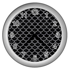 Scales1 Black Marble & Gray Colored Pencil Wall Clocks (silver)