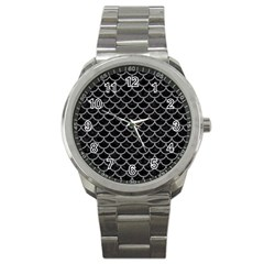 Scales1 Black Marble & Gray Colored Pencil Sport Metal Watch