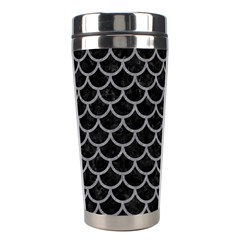 Scales1 Black Marble & Gray Colored Pencil Stainless Steel Travel Tumblers by trendistuff