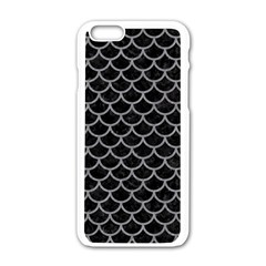 Scales1 Black Marble & Gray Colored Pencil Apple Iphone 6/6s White Enamel Case by trendistuff