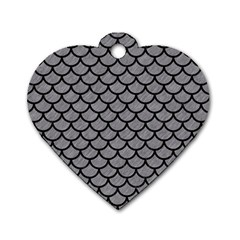 Scales1 Black Marble & Gray Colored Pencil (r) Dog Tag Heart (one Side) by trendistuff