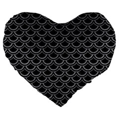 Scales2 Black Marble & Gray Colored Pencil Large 19  Premium Flano Heart Shape Cushions by trendistuff