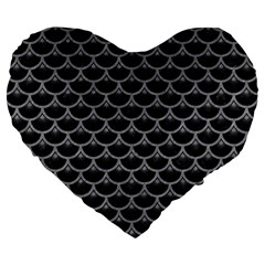 Scales3 Black Marble & Gray Colored Pencil Large 19  Premium Flano Heart Shape Cushions by trendistuff