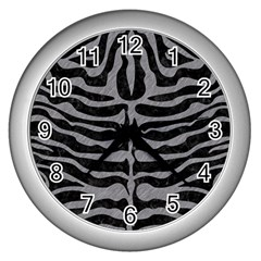 Skin2 Black Marble & Gray Colored Pencil Wall Clocks (silver)
