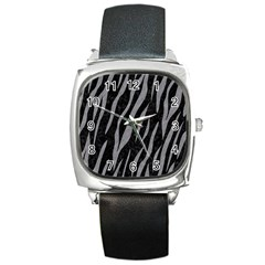 Skin3 Black Marble & Gray Colored Pencil Square Metal Watch by trendistuff