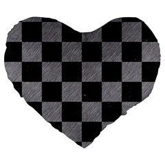Square1 Black Marble & Gray Colored Pencil Large 19  Premium Heart Shape Cushions by trendistuff