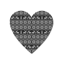 Xmas Pattern Heart Magnet by Valentinaart