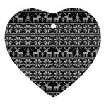 Xmas pattern Heart Ornament (Two Sides) Back