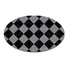 Square2 Black Marble & Gray Colored Pencil Oval Magnet by trendistuff