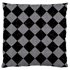 Square2 Black Marble & Gray Colored Pencil Large Cushion Case (one Side) by trendistuff