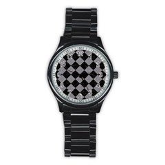 Square2 Black Marble & Gray Colored Pencil Stainless Steel Round Watch by trendistuff
