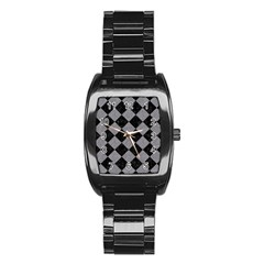 Square2 Black Marble & Gray Colored Pencil Stainless Steel Barrel Watch by trendistuff