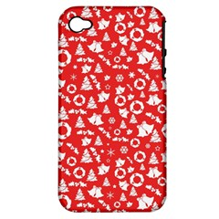 Xmas Pattern Apple Iphone 4/4s Hardshell Case (pc+silicone) by Valentinaart