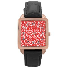 Xmas Pattern Rose Gold Leather Watch
