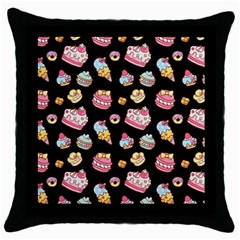 Sweet Pattern Throw Pillow Case (black) by Valentinaart