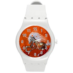 Steampunk, Wonderful Wild Steampunk Horse Round Plastic Sport Watch (m) by FantasyWorld7