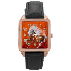 Steampunk, Wonderful Wild Steampunk Horse Rose Gold Leather Watch  by FantasyWorld7