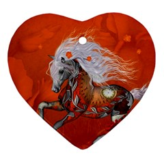 Steampunk, Wonderful Wild Steampunk Horse Ornament (heart) by FantasyWorld7