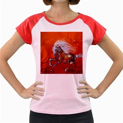 Steampunk, Wonderful Wild Steampunk Horse Women s Cap Sleeve T Shirt by FantasyWorld7