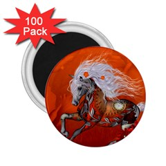 Steampunk, Wonderful Wild Steampunk Horse 2 25  Magnets (100 Pack)  by FantasyWorld7