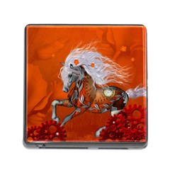 Steampunk, Wonderful Wild Steampunk Horse Memory Card Reader (square) by FantasyWorld7