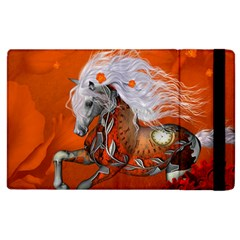 Steampunk, Wonderful Wild Steampunk Horse Apple Ipad 3/4 Flip Case by FantasyWorld7