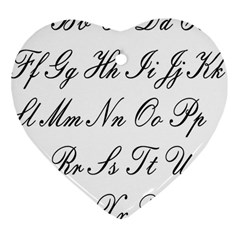 Alphabet Embassy Font Heart Ornament (two Sides) by Mariart