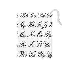 Alphabet Embassy Font Drawstring Pouches (medium)  by Mariart