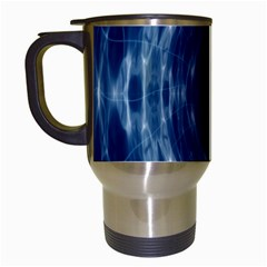 Worm Hole Line Space Blue Travel Mugs (white) by Mariart
