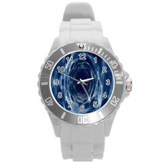 Worm Hole Line Space Blue Round Plastic Sport Watch (l) by Mariart