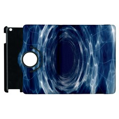 Worm Hole Line Space Blue Apple Ipad 2 Flip 360 Case