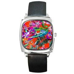 Aloha Hawaiian Flower Floral Sexy Summer Orange Square Metal Watch by Mariart
