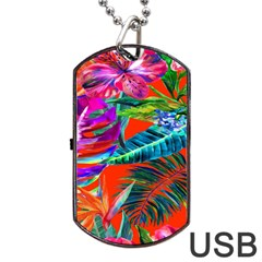 Aloha Hawaiian Flower Floral Sexy Summer Orange Dog Tag Usb Flash (two Sides) by Mariart