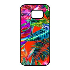 Aloha Hawaiian Flower Floral Sexy Summer Orange Samsung Galaxy S7 Edge Black Seamless Case by Mariart
