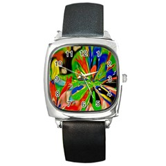 Acrobat Wormhole Transmitter Monument Socialist Reality Rainbow Square Metal Watch by Mariart