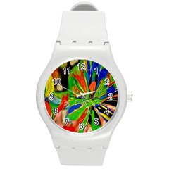 Acrobat Wormhole Transmitter Monument Socialist Reality Rainbow Round Plastic Sport Watch (m) by Mariart