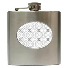 Background Pattern Diagonal Plaid Black Line Hip Flask (6 Oz) by Mariart