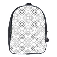 Background Pattern Diagonal Plaid Black Line School Bag (large)