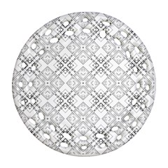 Background Pattern Diagonal Plaid Black Line Ornament (round Filigree)