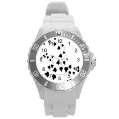 Black Leaf Round Plastic Sport Watch (l) by Mariart