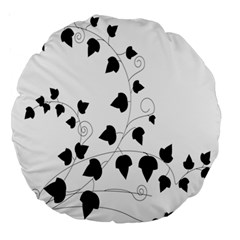 Black Leaf Large 18  Premium Round Cushions by Mariart