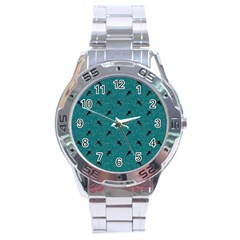 Unicorn Pattern Aqua Stainless Steel Analogue Watch by MoreColorsinLife