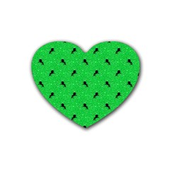 Unicorn Pattern Green Rubber Coaster (heart)  by MoreColorsinLife