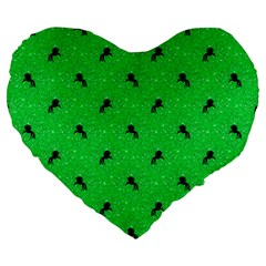Unicorn Pattern Green Large 19  Premium Heart Shape Cushions by MoreColorsinLife