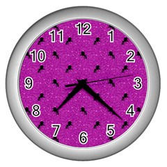 Unicorn Pattern Pink Wall Clocks (silver)