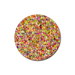 Multicolored Mixcolor Geometric Pattern Rubber Coaster (round)  by paulaoliveiradesign