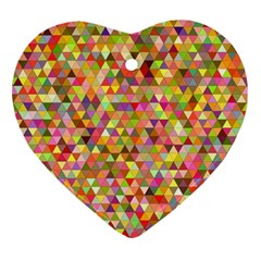 Multicolored Mixcolor Geometric Pattern Heart Ornament (two Sides) by paulaoliveiradesign