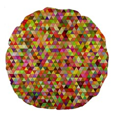 Multicolored Mixcolor Geometric Pattern Large 18  Premium Round Cushions by paulaoliveiradesign