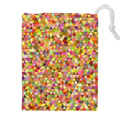 Multicolored Mixcolor Geometric Pattern Drawstring Pouches (xxl) by paulaoliveiradesign