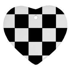 Grid Domino Bank And Black Heart Ornament (two Sides) by Nexatart